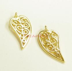 2x 14K Real Gold SILVER Leaf DANGLE CHARM SPARCER 17mm