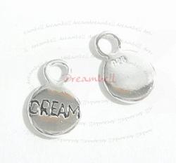 "2x Bright Sterling silver LITTLE ROUND dangle Charm ""DREAM"" 10.6mm"