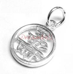 "1x Sterling Silver Chinese Word ""LONG LIFE"" Dangle Charm Bead 11mm"