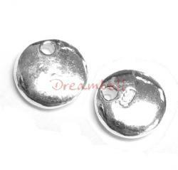 2x Sterling Silver Round TAG Hallmark 925 Stamped Charm Dangle Bead 7.6mm