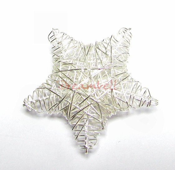 1 STERLING SILVER STAR WIRE MESH NET DANGLE CHARM PENDANT BEAD  28mm