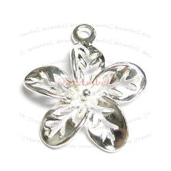 1 x Sterling silver Filigree Flower Charm Pendant 19mm
