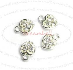 2x Bright Sterling silver CZ crystal Heart Dangle Charm Pendant