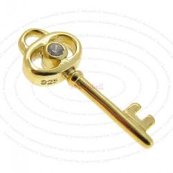 1x 14k Real Gold Silver Key CZ Dangle Charm Pendant 7mm