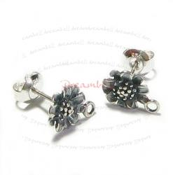 2x Antique Sterling Silver Sun Flower Stud Earrings Loop Post 8mm