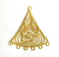 2x 14K Gold plated over Sterling silver Filigree Chandelier Earrring Connector 27mm