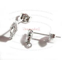 2x Sterling silver  CZ Olive Stud Loop Post Earring wi clutches