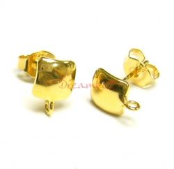 2x 14k Gold STERLING SILVER CURVED SQUARE EARRING STUD  LOOP POST