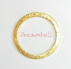 14K Vermeil  Gold plated Silver  SATIN MATTE Finish Round hoop Jump ring Connector 18mm