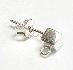 2x STERLING SILVER Earring posts CUBE with loop for dangle