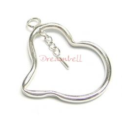 1x Rhodium STERLING SILVER Twisted Heart CHARM PENDANT w/ PIN 27mm