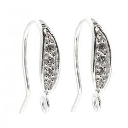 2x Sterling Silver Ear Wire Earring Hook with CZ crystal dangle