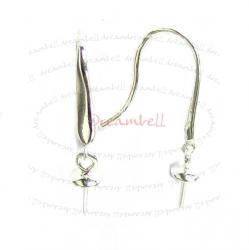 2x Sterling Silver Earring French Hook EarWire 4mm Pearl Cup