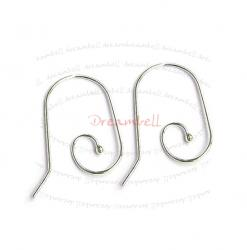 2 x Sterling Silver Earwire Interchangeable Ball End Ear Wire French Hook 23mm