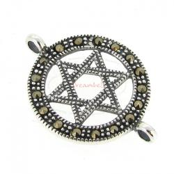 1x Sterling Silver Round Antique Star of David Marcasite Link Connector