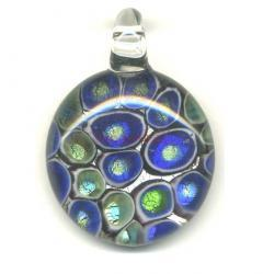 Mosaic Silver Lampwork Fused DICHROIC Glass Pendant