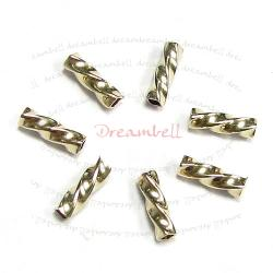 10x 14k Gold Filled Twist Square Tube Bead Spacer 1.3mm x 5mm