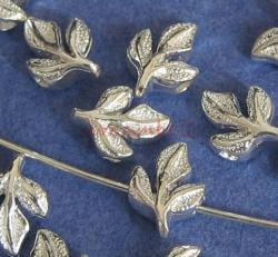 10x 925 Sterling silver leaf bead spacer