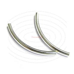 2x Sterling Silver Elbow Noodle Curve Round Tube Spacer Loose Bracelet Bead 4mm x 34mm