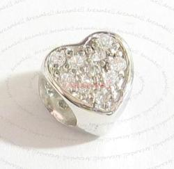 Sterling Silver HEART Love Clear CZ crystal Bead for European charm Bracelet