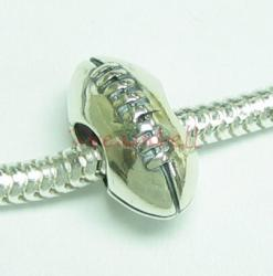 Sterling silver RUGBY Ball Football Bead  for European Charm Bracelets