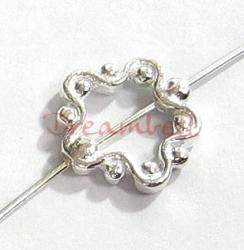 2x Sterling Silver  Frame Slide FLOWER Round RING Bead Spacer 11.2mm