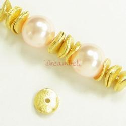 4x 14K Real Gold Sterling Silver 6mm Round Curved Satin Spacer Bead Cap