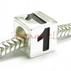 "Sterling Silver Dice Cube Digit 1"" Bead Tube for European Charm Bracelets"