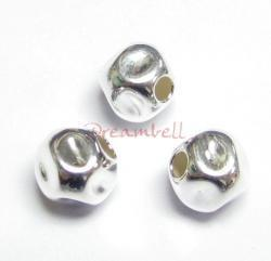 4x Sterling Silver Dented Hammered Bead Spacer 6mm