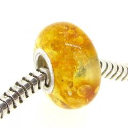 Sterling Silver Genuine Yellow Amber ROUND Bead for European Charm Bracelets
