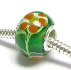 Sterling Silver Glass Flower ROUND Bead for European Charm Bracelets