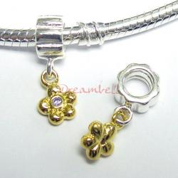 14K Gold 925 Sterling Silver FLOWER SCREW-on Bead w/ CZ Dangle for European Charm Bracelets