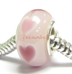 Sterling Silver PINK HEART Murano Glass for European Bead charm Bracelet