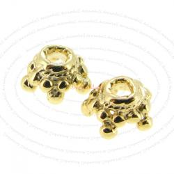 4x Vermeil 14K Gold plated over 925 Sterling Silver Star Flower Cap Bead 5.8mm