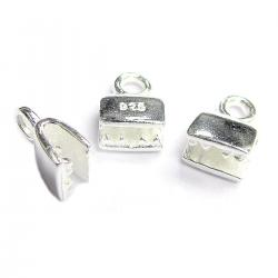4x Sterling SILVER LEATHER RIBBON CLIP CORD END CRIMP CAP