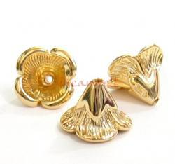 2x 14K Gold plated over Sterling Silver Bead Flower Cone Cap 6.5m x 9mm