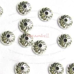 6x STERLING SILVER Round Swirl Flower Bead Cap 4mm
