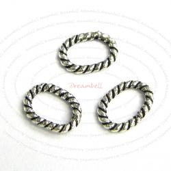 20x Sterling Silver Closed Oval Twist Jump ring 6mm x 4mm